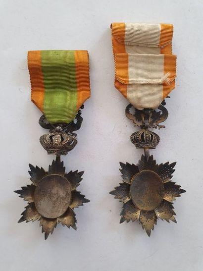 ANNAM ORDRE DU DRAGON D'ANNAM Deux décorations : - Chevalier. Argent et émail (nombreux...
