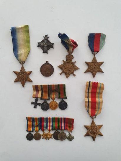 ROYAUME-UNI 6 médailles et 2 barrettes de...