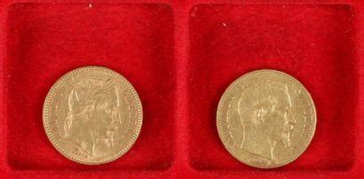 2 pièces de 20 Francs en or. - 1 pièce de...