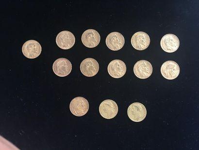14 pièces de 20 Francs en or; dans un sachet...