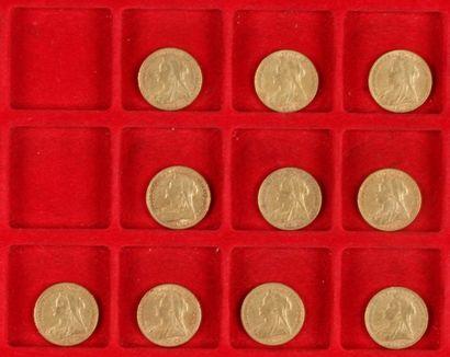 10 Souverains en or. Type Victoria voile....