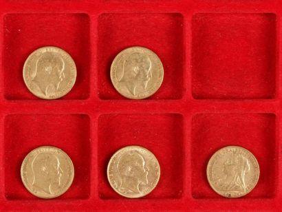 5 Souverains en or: - 1 Souverain en or....