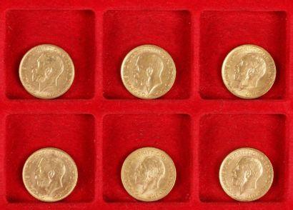 6 Souverains en or. Type Georges V. 1911...