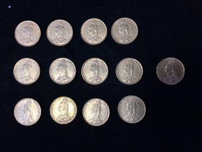 13 Souverains en or Type Victoria Jubilée....