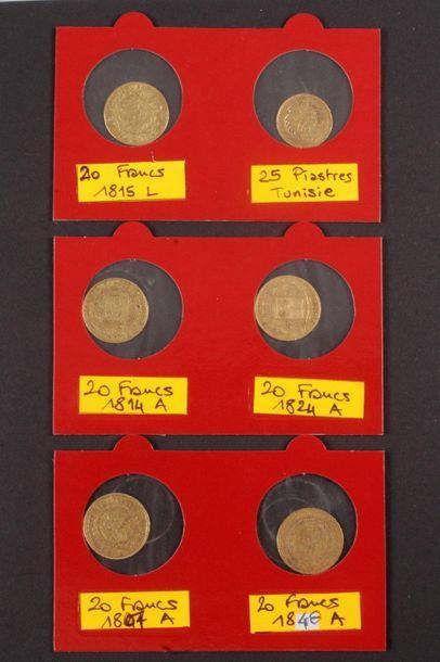 5 pièces de 20 Francs en or : - 1 pièce de...