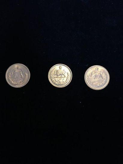 3 pièces de 1/2 Pahlavi en or Poids : 11,9...