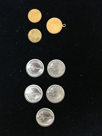 Lot de 2 petites pièces en or iranniennes...