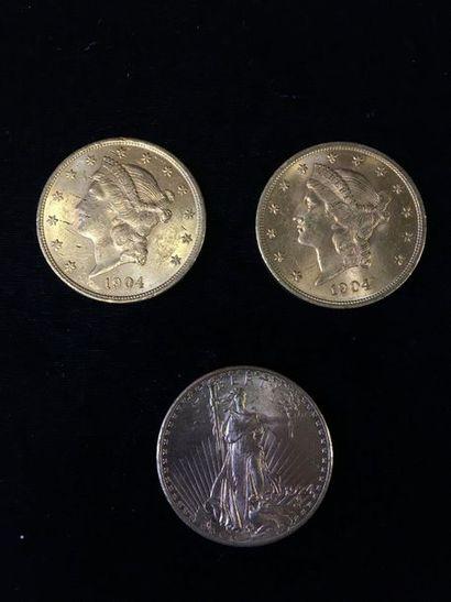 3 pièces de 20 Dollars en or : - 2 pièces...