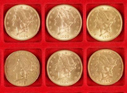 6 pièces de 20 Dollars. Type Liberty. 1858...