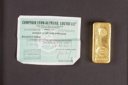 Lingot d'or (996.6) numéroté 601 681 avec...