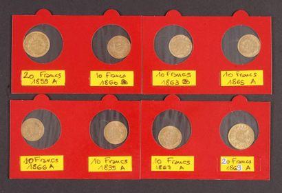 Lot de 8 pièces françaises en or: - 2 pièces...