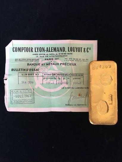 Lingot d'or (996,1) numéroté 564 309 avec...
