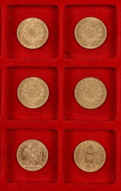 6 pièces de 20 Francs en or : - 4 pièces...