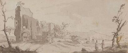 Attribué à Gabriel BOUQUIER (1739-1810) Paysage animé Plume et encre grise, lavis...