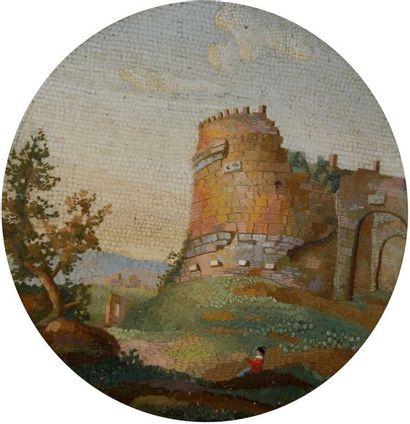 ITALIE, XIXe siècle Paysage animé aux ruines...