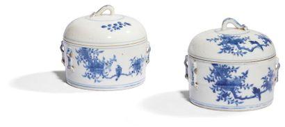 Chine Paire de boîtes cylindriques couvertes...