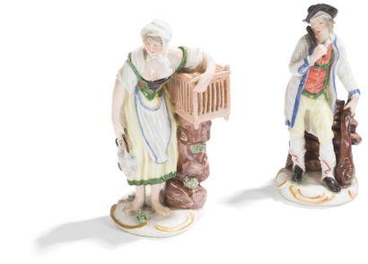 Ludwigsburg Paire de statuettes en porcelaine...