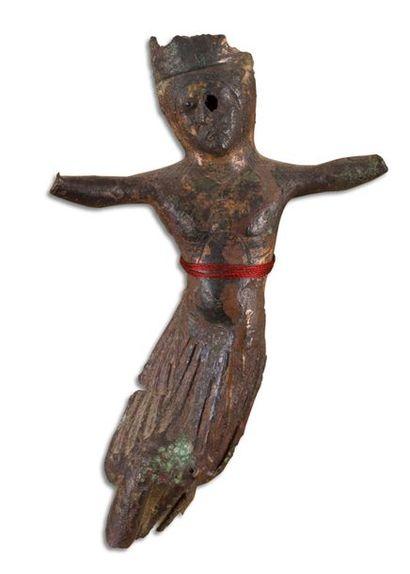 Christ d'applique en cuivre champlevé, anciennement...