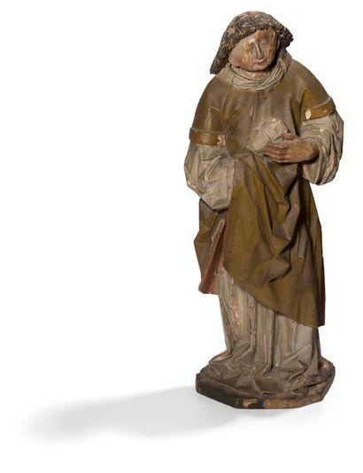 Saint Étienne en tilleul sculpté et polychromé,...