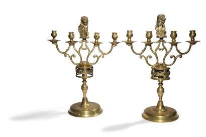 Paire de chandeliers en bronze à deux bras...
