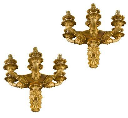Paire d'appliques en bronze doré de forme...