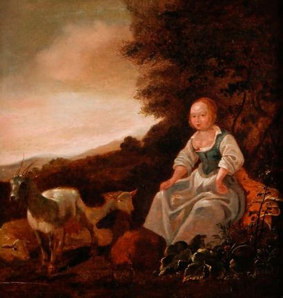 École HOLLANDAISE du XVIIIe siècle, dans le goût de Paulus POTTER Jeune bergère...