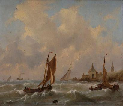 École FRANÇAISE vers 1840 Marine Panneau....