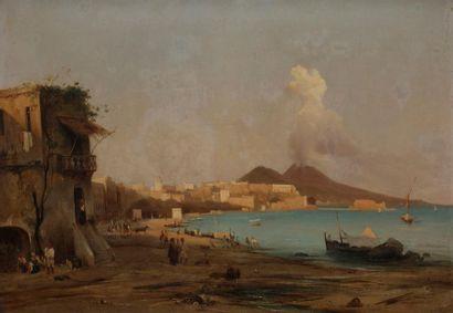 École NAPOLITAINE vers 1840 Baie de Naples...