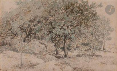 Théodore ROUSSEAU (1812-1867) Paysage Aquarelle...