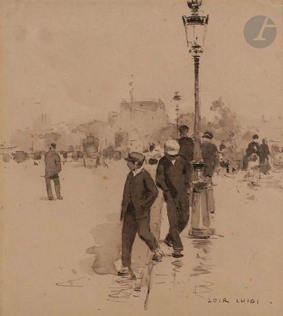 Luigi LOIR (1845-1916) Rue de Paris animée...