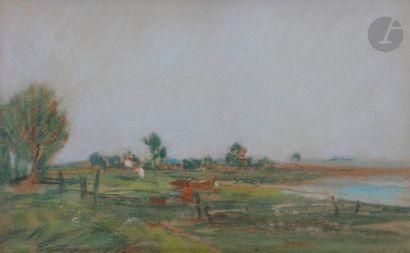 Eugène BOUDIN (1824-1898) Paysage de bord...