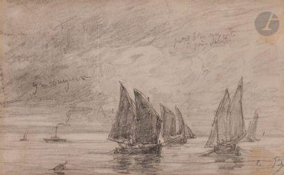 Eugène BOUDIN (1824-1898) Voiliers en mer...