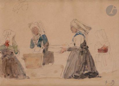 Eugène BOUDIN (1824-1898) Les Lavandières...