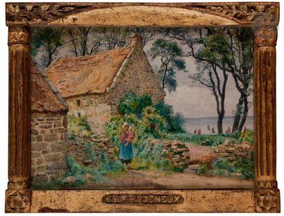 Gabriel-Charles DÉNEUX (1856-1926) Chaumières...