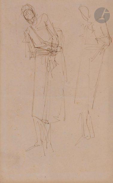 Auguste RODIN (1840-1917) Deux silhouettes...