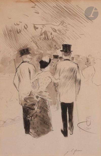 Jean-Louis FORAIN (1852-1931) Mondains devant...