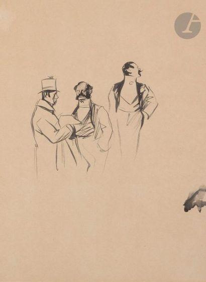 Jean-Louis FORAIN (1852-1931) Trois élégants...