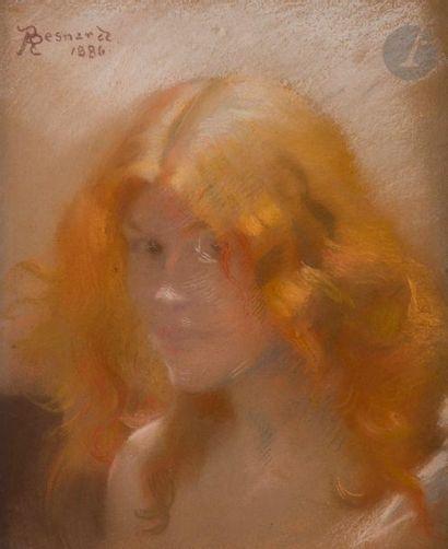 Albert BESNARD (1849-1934) Portrait de femme,...