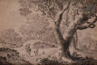 ÉCOLE DU NORD du XVIIIe siècle Paysage boisé...