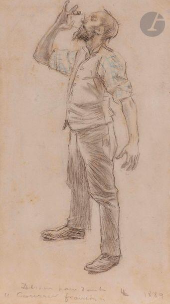 Louis LEGRAND (1863-1951) Buveur, 1889 Crayon...