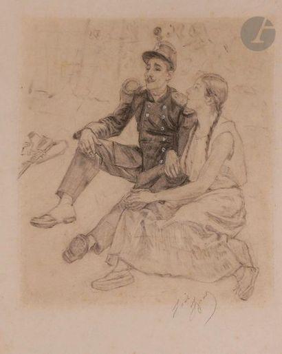 Louis LEGRAND (1863-1951) Les Amoureux Fusain...