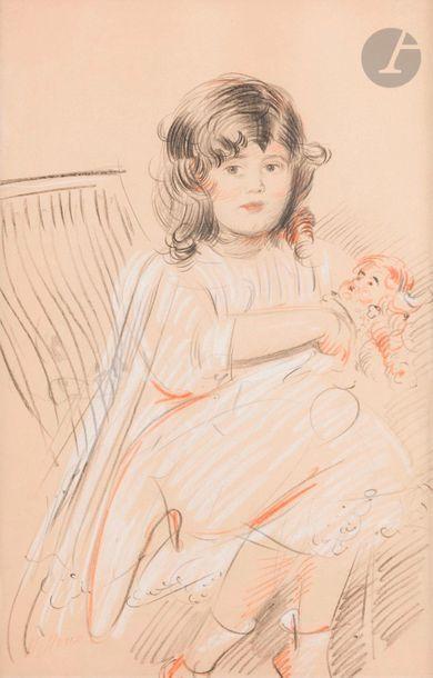 Paul César HELLEU (1859-1927) Petite fille...