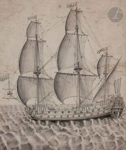 ÉCOLE FRANÇAISE du XVIIIe siècle Voilier...