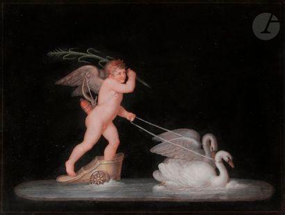 Michelangelo MAESTRI (? - Rome 1812) et son atelier Une paire de chars marins de...