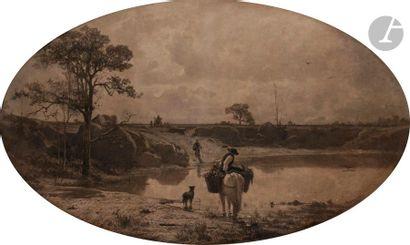 Adolphe APPIAN (Lyon 1818 - 1898) Paysans...