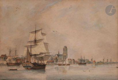 ÉCOLE HOLLANDAISE DU XIXe siècle Marine Aquarelle....