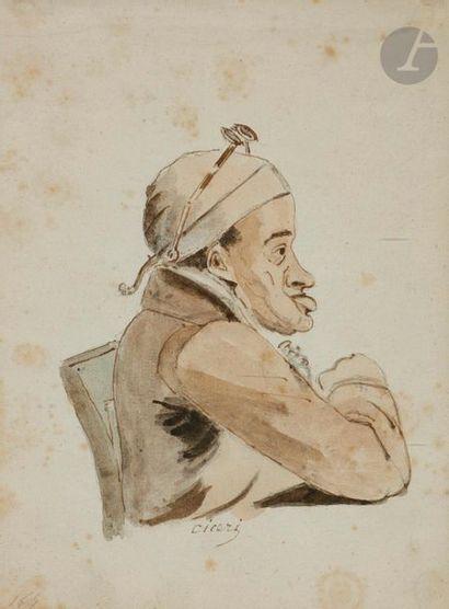 ÉCOLE FRANÇAISE du XIXe siècle Portrait charge...