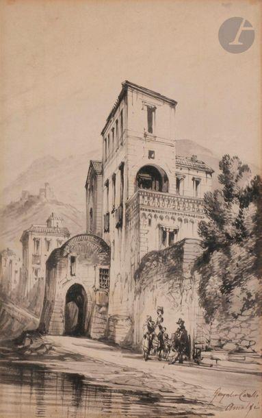 Conzalvo CARELLI (Naples 1818-1900) Vue d'Amalfi...