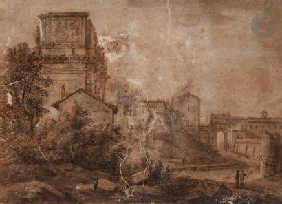 ÉCOLE FRANçAISE du XVIIe siècle Vue animée...