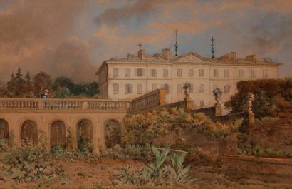ÉCOLE FRANÇAISE du XIXe siècle Vue d'un château...